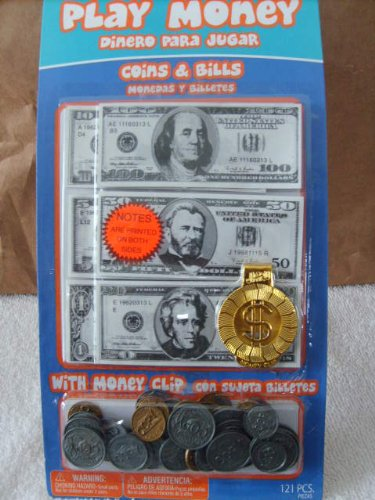 Play Money, Coins & Bills with Money Clip