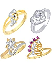 VK Jewels Gold And Rhodium Plated Alloy Ring Combo Set For Women & Girls Made With Cubic Zirconia - COMBO1556G...