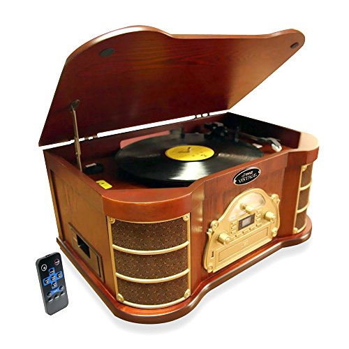 Pyle PTCD54UB Bluetooth Vintage Classic Style Turntable with Radio, CD and Cassette Players, USB Recording, iPod/MP3 Dock