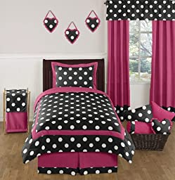 Hot Pink, Black and White Polka Dot Childrens and Teen Girls Bedding Set 4 Piece Twin Set