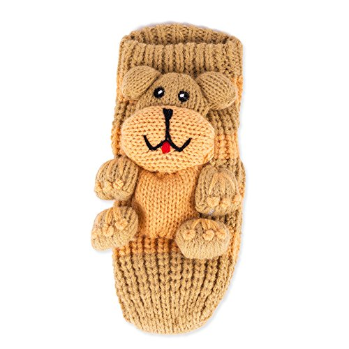 Thick Non-Slip Grip Bottom Knit Animal Socks (Small 3-6 Yrs, Brown Puppy) front-441645