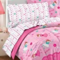 Twin Polyester Filled Comforter, Magical Princess Complete Bed in a Bag Bedding Set. Pink
