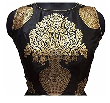 Kuvarba Fashion Color Black Fabric Jacquard Readymade Designer Fancy Blouse at amazon