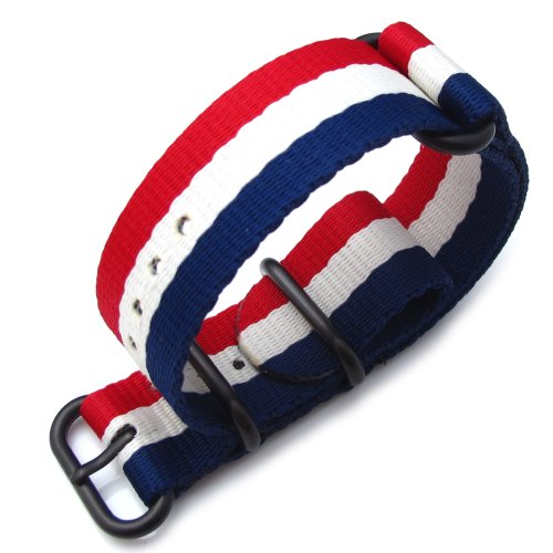 Miltat 24Mm 3 Rings Zulu Watch Strap Ballistic Nylon Armband - French Flag & Pvd Black Hardware