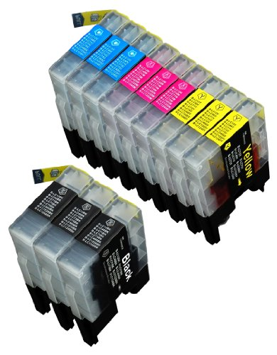 12 Pack Compatible Brother LC-71 , LC-75 3 Black,