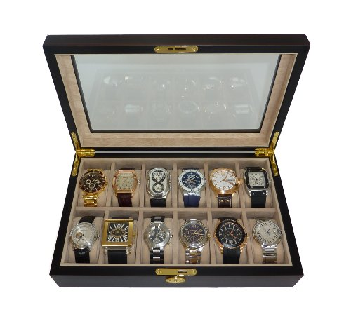 12 Piece Ebony Wood Watch Display Case and Storage