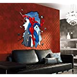 Large 3D Style Cartoon Spiderman Wall Decal Home Sticker Paper Removable Living Dinning Room Bedroom Kitchen Windows Art Picture Murals DIY Stick Decoration PP-DF5206