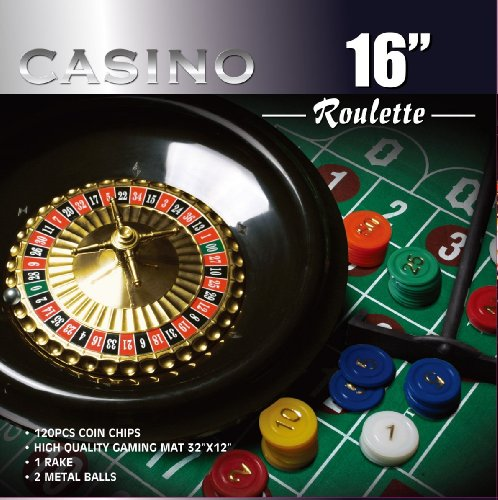 New Da Vinci 16-Inch Roulette Wheel Game Set with 120 chips, Felt Layout, and Rake