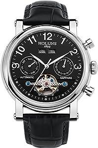 Carlien Men's Calfskin Strap Calendar Hollow Flywheel Sapphire Water Resistant Automatic Watch