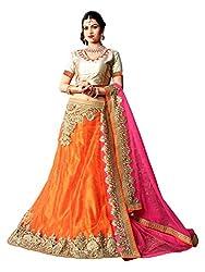 Jiya Presents Embroidered Net Lehenga Choli(Orange,Beige)
