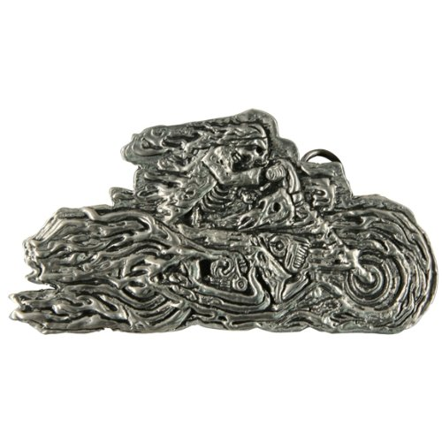 Flaming Skeleton Biker Belt Buckle