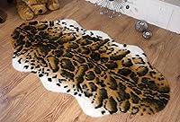 Snow leopard animal print faux fur sheepskin double rug 70 x 140 cm