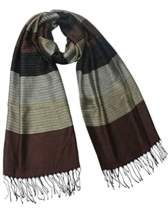Multi-Color Awning Stripe 100% Rayon Tassel Ends Long Scarf - Brown