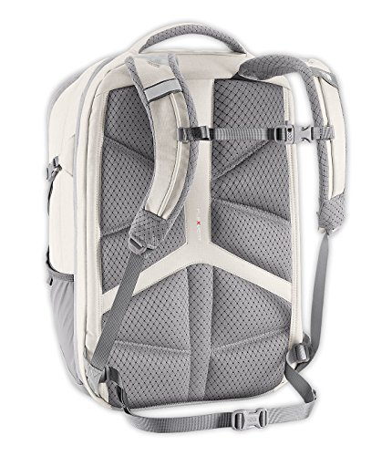 white and gray north face backpack