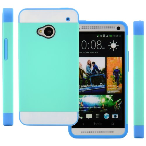 Celljoy Hybrid Tpu 2Pc Layered Hard Case Rubber Bumper For Htc One M7 (At&T / Sprint / T-Mobile / Unlocked) [Celljoy Retail Packaging] (Turquoise Teal / White / Blue)