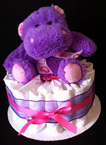 Purple Hippo Mini Diaper Cake - Baby Shower Gift Or Centerpeice