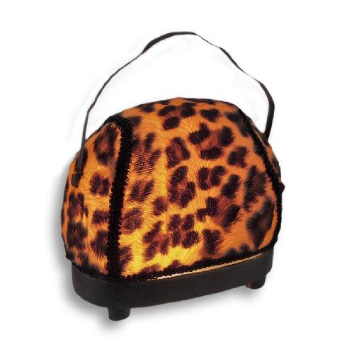Fashionable Fuzzy Leopard Print Handbag Accent Lamp front-994825