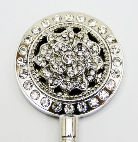 Float Crystal Flower Purse Hanger (Silver / Rotating Hook)