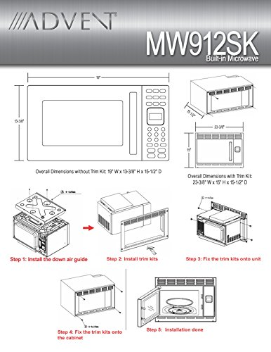 Advent MW912BK Black Built-in Microwave Oven with Trim Kit specially built for RV Recreational Vehicle, Trailer, Camper, Motor Home etc., 0.9 cu.ft. capacity, 900 watts of cooking power and 10 adjustable power levels let you boil, reheat, defrost and more, 6 pre-programmed one-touch digital cook seetings let you easily prepare popcorn, pizza, frozen entrees or beverages at the touch of a button, Glass turntable rotates foods to provide even cooking, Easy access door