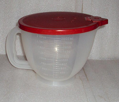 Vintage Tupperware 8 Cup Batter Bowl Mix N Stor Measuring Pitcher, Sheer w/ Red Seal