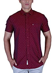 Integriti Men's Casual Shirt (ICON-695 HSNSLF MARN_L, Red, L)