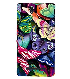 printtech Colorful Butterfly Back Case Cover for Sony Xperia C3 Dual D2502::Sony Xperia C3 D2533