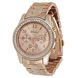 Women's Rhinestone Accented Link Watch Color: Copper