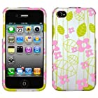 IPHONE 4 4S AT&t SPRINT VERIZON C-SPIRE GREEN LEAF PINK FLOWER 2D CRYSTAL RUBBERIZED COVER CASE - PERFECT FIT