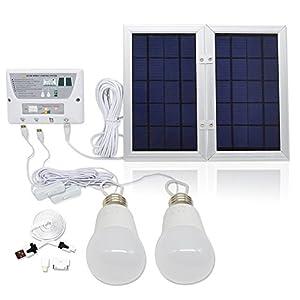 [6W Panel Foldable] HKYH Solar Mobile Light System, Solar Home DC System Kit, 3.7V Lithium Battery - 6W Foldable Panel Solar Home System Kit - including 3 Cell Phone Charger - 2 LED Lights from HKYH