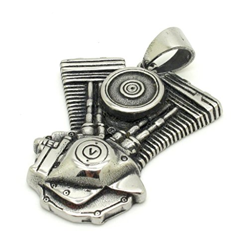 BoxDragon Jewelry Rock Gothic Stainless Steel Motorcycle Biker Mens Pendant Necklace Silver