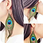 Susenstore Fashion Boho Style Peacock Feather Silvery Hook Women's Dangle Earrings