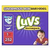 Luvs Ultra Leakguards Newborn Diapers Size 1, 252 Count