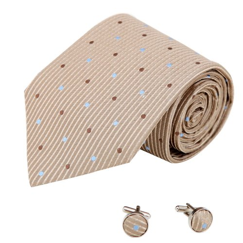 A2035 Tan Patterned Blue Luxury Gift Giving One Size Marriage Gift Idea Silk Ties Cufflinks Set 2PT By Y&G
