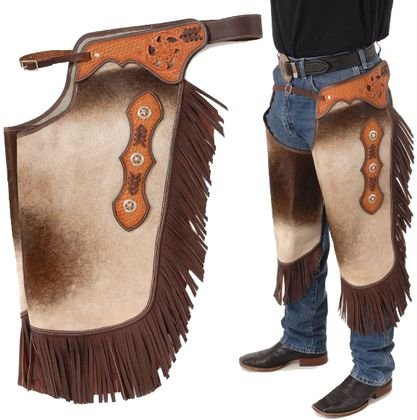 Tough-1 Hair On Leather Silver Concho Chinks Large