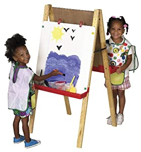 ECR4Kids Double Sided Adjustable Easel Features Chalkboard and Dry-Erase Board