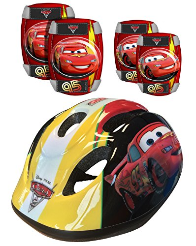 Disney K892507 Cars - Casco, coderas y rodilleras para bicicleta, color rojo
