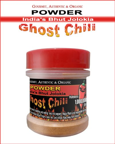 100% Pure Ghost Chili Powder - Organic, Authentic Indian Bhut Jolokia - Pure Powder (1/2Oz) 100% Satisfactions Guarantee - Sold In A Magic Plant Spices Jar!!!