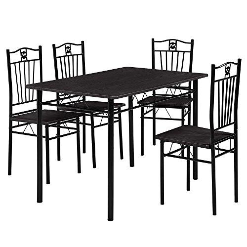 [en.casa] Esstisch und 4 Stühle (110 x 70 cm) (gepolstert) – im Sparpaket