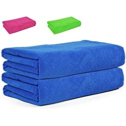 Asciugamano in microfibra Belmalia XXL, assorbente, 175 x 80 cm, blu verde rosa Sauna asciugamano da bagno telo da mare in microfibra Panno
