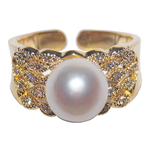 Gold Plated S925 Sterling Silver Vintage Natural Pearl Ring Women`s Fine Jewelry