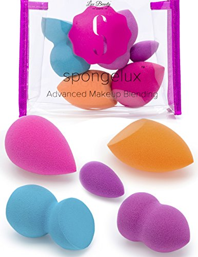 Lux Beauty Spongelux Advanced Makeup Blending 5 Pc Sponge & Blender Set with Bonus Travel Bag | Professional Quality Applicators for Flawless Foundation & Contouring (Micro Beauty Blender Sponge compare prices)