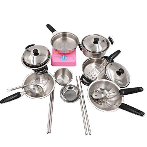Tresbro Pretend Play Kitchen Toys Stainless Steel Kitchen Playset Cooking Utensils for Kids Cookware Set of 20 Pieces (Tall Cookware compare prices)