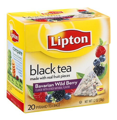 Lipton Black Tea Pyramid Tea Bags Bavarian Wild Berry 20 Ct (Pack Of 18)