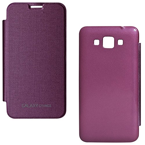 DMG Smooth PU Leather Back Replace Flip Cover Case For Samsung Galaxy Grand Max SM-G7200 (Purple)