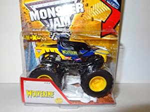 2013 HOT WHEELS MONSTER JAM MARVEL WOLVERINE MONSTER TRUCK WITH CRUSHABLE CAR, WOLVERINE MONSTER JAM 1:64 SCALE TOY TRUCK