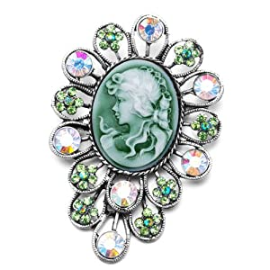 Pugster Classic Antique Lady Maiden Profile Flower Green Beauty Cameo Peridot Floral Emerald Green Swarovski Crystal Diamond Accent Brooches Pins