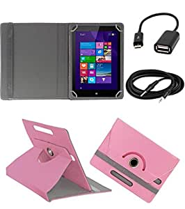 ECellStreet ROTATING 360° PU LEATHER FLIP CASE COVER FOR iBall Slide Stellar A2 7 INCH TABLET STAND COVER HOLDER - Light Pink + Free Aux Cable + Free OTG Cable