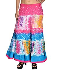 Aura Life Style Women's Cotton Bandhej Skirt (ALSK3005B, Multi , Free Size)