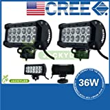 JACKY LED 2 Pcs 7inch 36W CREE LED Work Light Bar Flood Beam 4X4 Offroad Lamp Spot