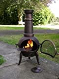 105cm Bronze Cast Iron/Steel Mix Chiminea Chimenea with Swing Out Grill BBQ